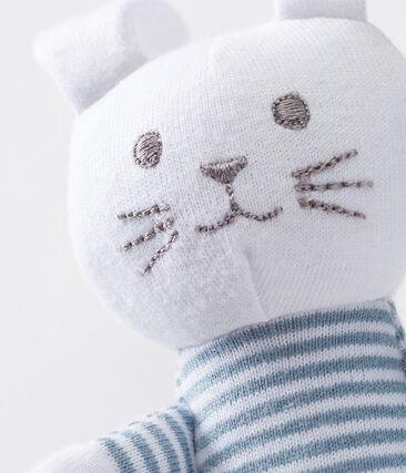 Doudou lapin bébé en jersey bleu Fontaine / blanc Marshmallow