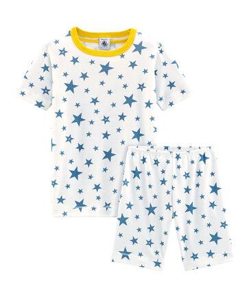 Pyjacourt petit garçon coupe très ajustée en côte blanc Marshmallow / bleu Alaska