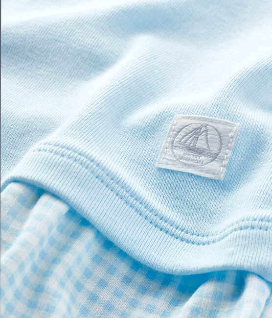 Combicourt faux deux-pièces bébé blanc Marshmallow / vert Amandier