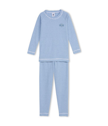 Pyjama garçon en milleraies bleu Alaska / blanc Ecume
