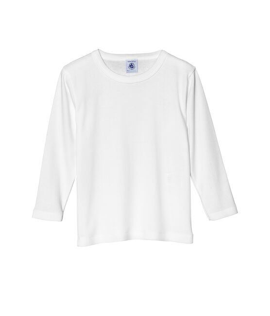 T-shirt garçon manches longues unis blanc Ecume
