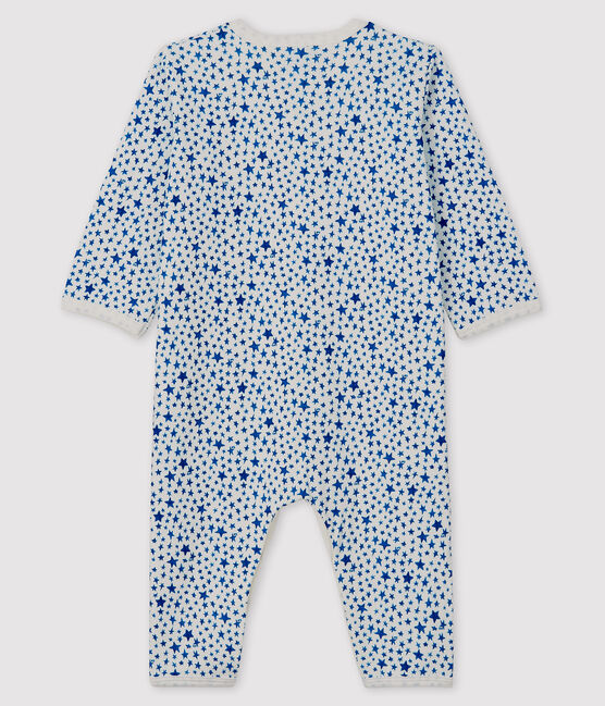 Dors-bien sans pieds à étoiles bleues bébé en tubique blanc Marshmallow / bleu Major