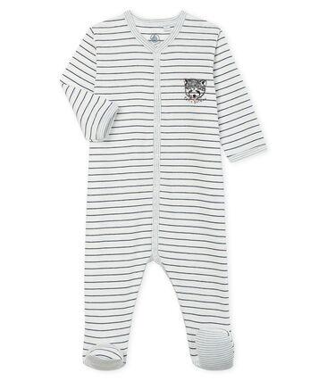 Dors bien bébé garçon en côte blanc Marshmallow / bleu Medieval
