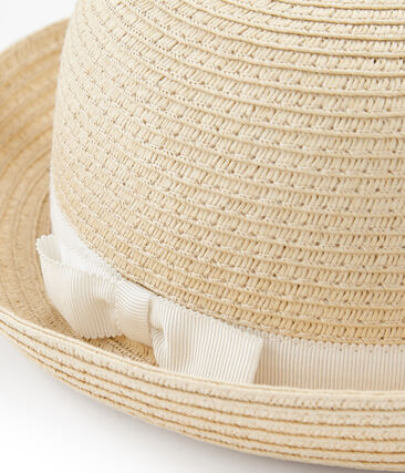 Chapeau de paille enfant fille rose Naturel