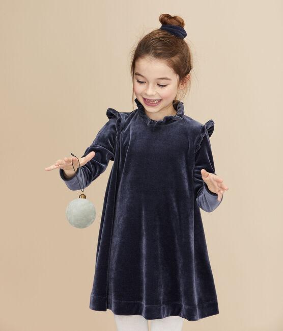Robe manches longues enfant fille bleu Smoking