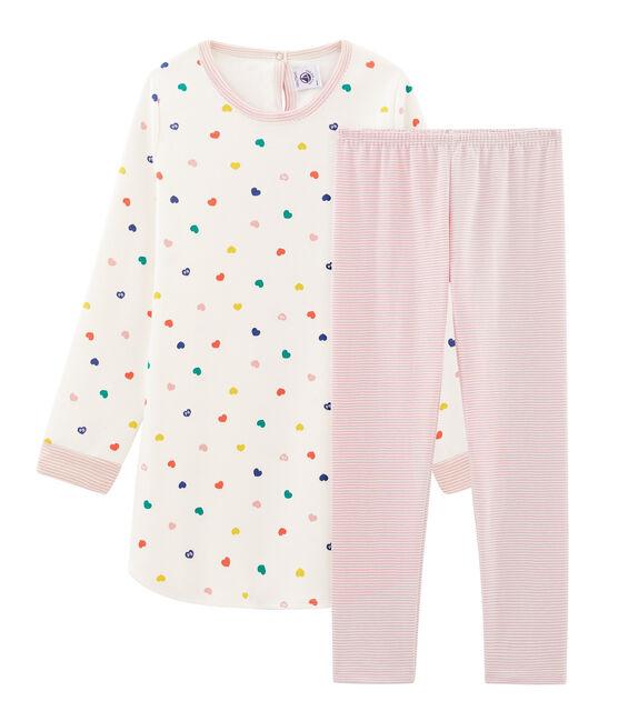 Chemise de nuit manches longues à coeurs petite fille en jersey double face blanc Marshmallow / blanc Multico