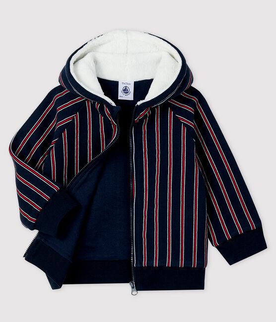 Sweatshirt à capuche bébé garçon bleu Smoking / blanc Multico
