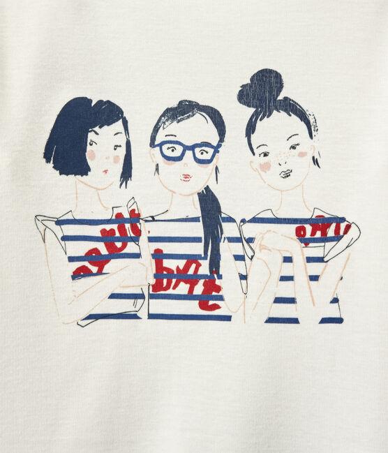 Tshirt fille manches longues sérigraphié blanc Marshmallow
