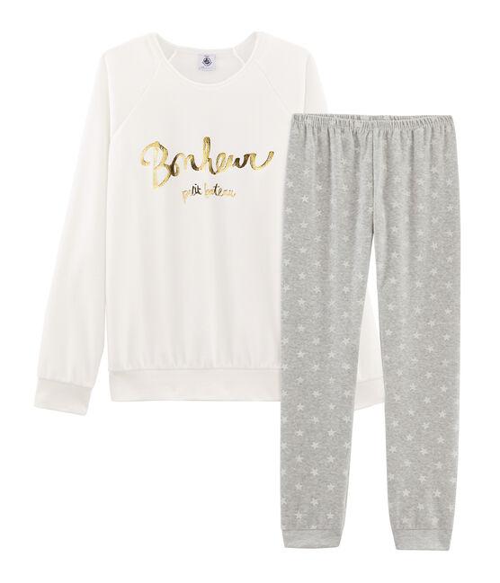 Pyjama fille en velours gris Beluga / blanc Marshmallow