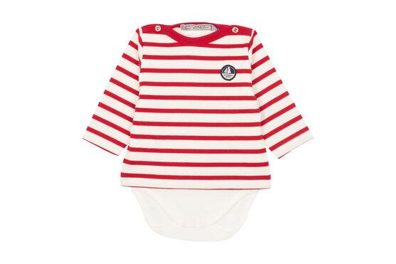 Body marinière iconique bébé garçon blanc Marshmallow / rouge Terkuit