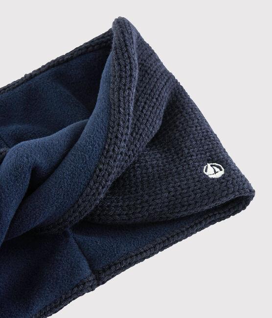 Snood torsadé en tricot enfant garçon - fille bleu Smoking