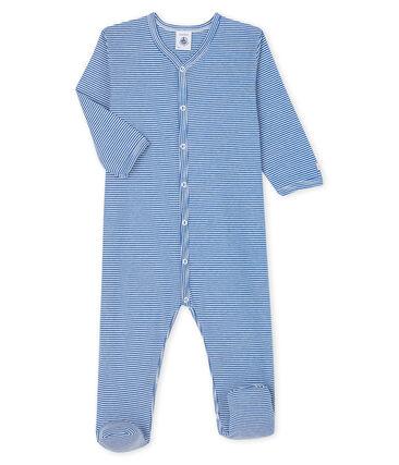 Dors-bien à rayures bleues bébé en côte bleu Pablito / blanc Marshmallow