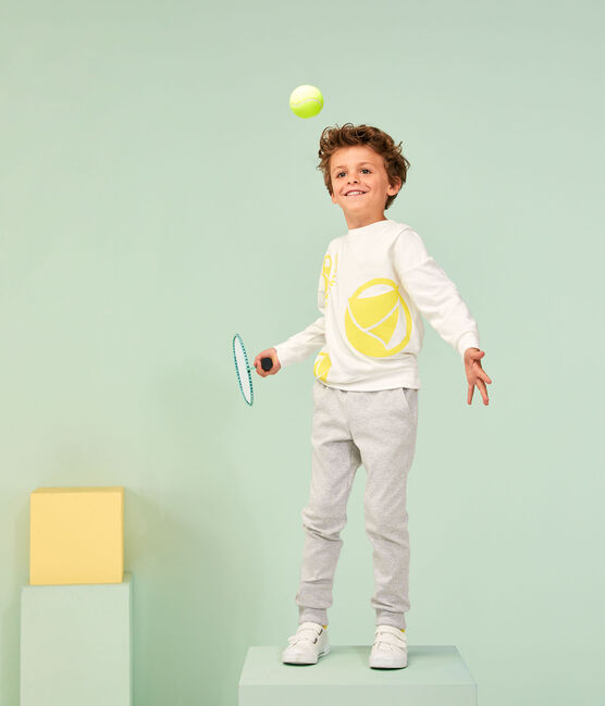 Sweat shirt enfant fille - garçon blanc Marshmallow / jaune Eblouis