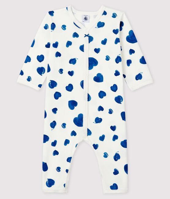 Dors-bien à cœurs bleus sans pieds bébé fille en côte blanc Marshmallow / blanc Multico