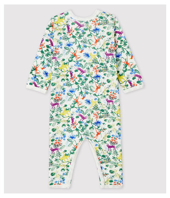 Dors-bien sans pieds jungle bébé en coton blanc Marshmallow / blanc Multico
