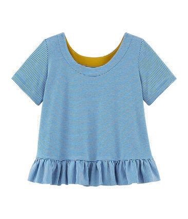 Tee-shirt à manches courtes enfant fille bleu Riyadh / blanc Marshmallow