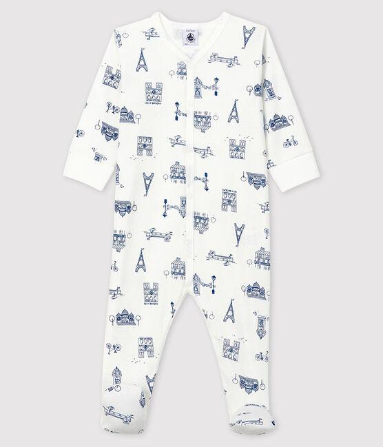 Dors-bien Paris bébé en côte blanc Marshmallow / bleu Major
