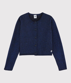 Cardigan en coton enfant fille bleu Smoking
