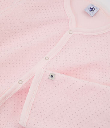 Combinaison petite fille en polaire rose Vienne / gris Mistigri