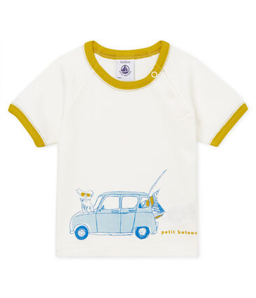 Tee-shirt manches courtes à motif bébé garçon blanc Marshmallow