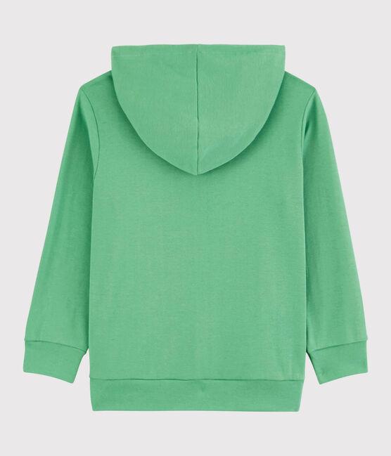 Sweatshirt zippé à capuche en coton enfant garçon vert Aloevera