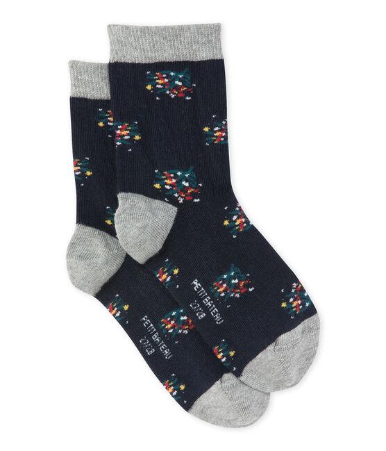 Chaussettes fille à motif fleuri bleu Smoking / blanc Multico