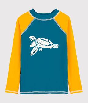 Tee-shirt anti-uv recyclé enfant garçon bleu Mykonos / jaune Tehoni