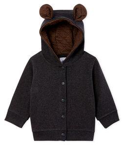 Sweatshirt à capuche bébé garçon en côte élasthanne
