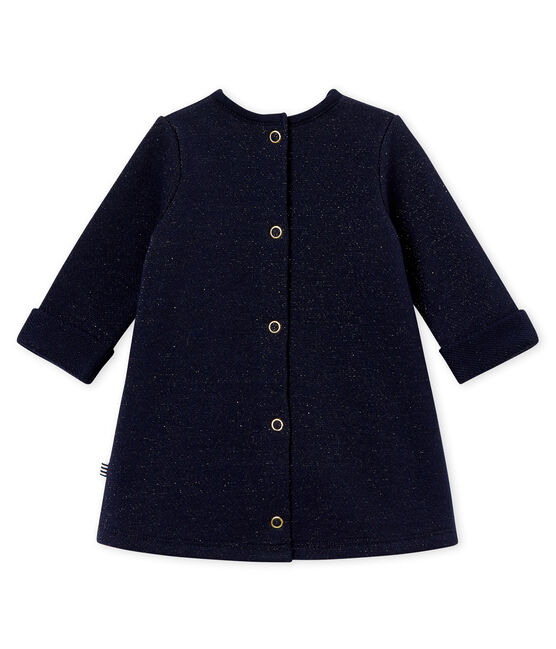 Robe molleton brillant bébé fille bleu Smoking / jaune Dore