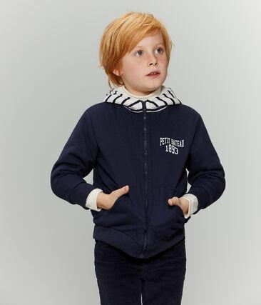 Sweatshirt zippé réversible enfant garçon bleu Smoking