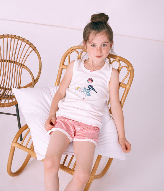 Pyjacourt petite fille en côte rose Cupcake / blanc Marshmallow