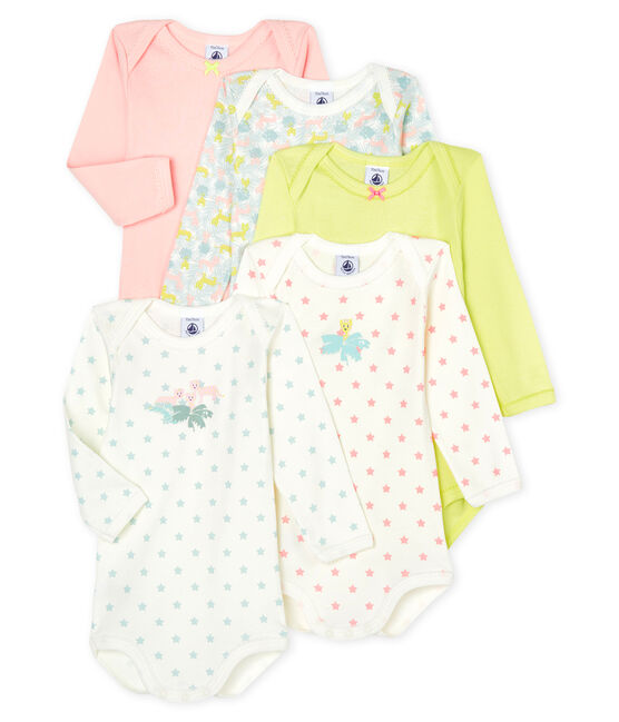 Lot de 5 bodies manches longues bébé fille lot .