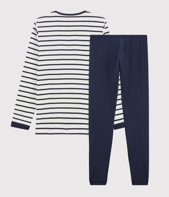 Pyjama marinière petit garçon en coton blanc Marshmallow / bleu Smoking
