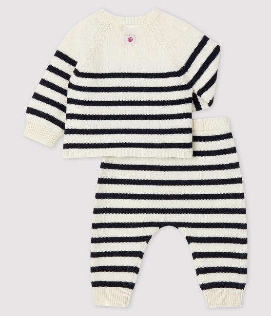 Ensemble 2 pièces à rayures bébé en tricot blanc Marshmallow / bleu Smoking