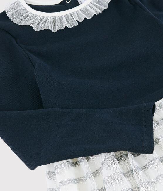 Robe manches longues enfant fille bleu Smoking / blanc Multico