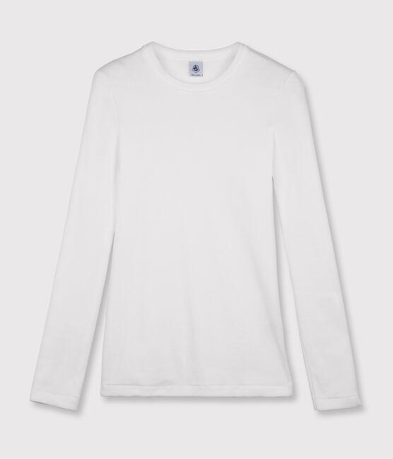 T-shirt col rond iconique en coton Femme blanc Ecume
