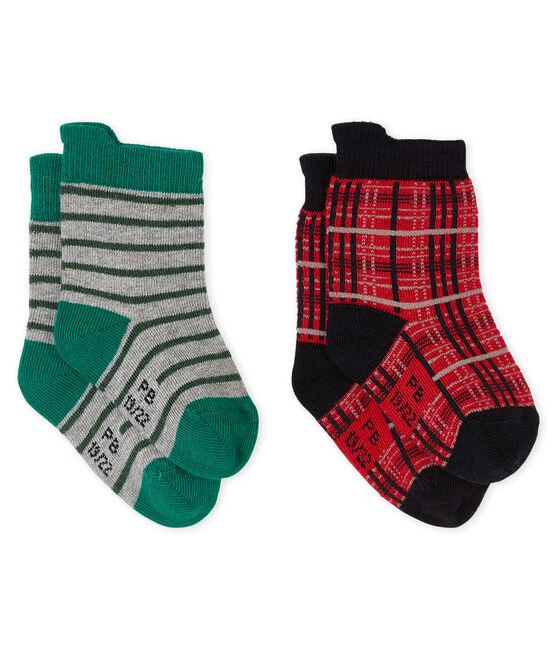Lot de 2 paires de chaussettes bébé garçon rouge Terkuit