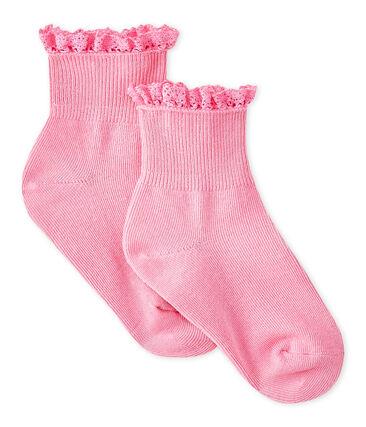 Chaussettes dentelle bébé fille rose Petal