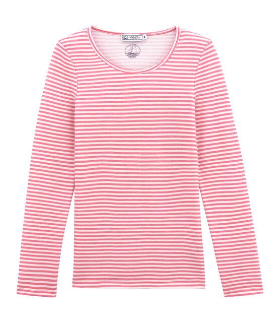 Tee shirt manches longues coton et laine pour femme rose Cheek / blanc Marshmallow