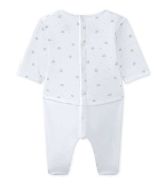 Combinaison guimpe bébé mixte bi-matière blanc Ecume / marron Shitake