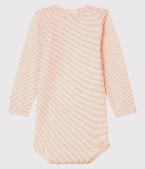 Body manches longues à rayures bébé en laine et coton rose Charme / blanc Marshmallow