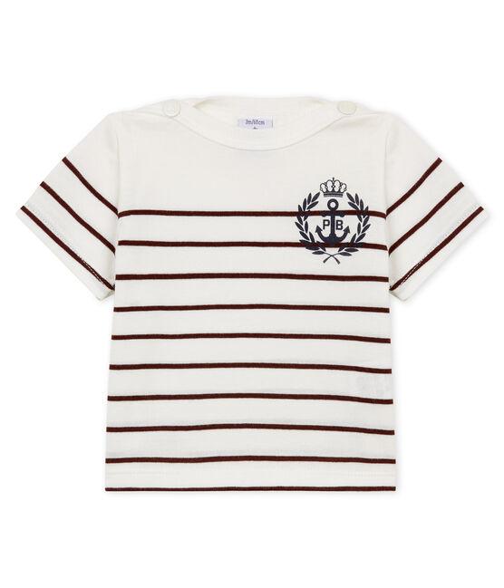 Tee-shirt manches courtes bébé garçon rayé blanc Marshmallow / rouge Vino