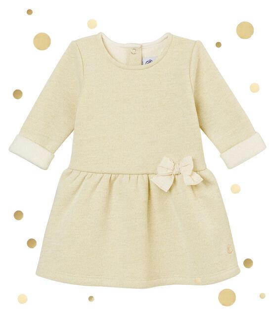 Robe en molleton brillant bébé fille blanc Marshmallow / jaune Dore