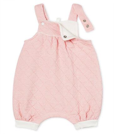 Salopette courte bébé en tubique matelassé rose Charme / blanc Marshmallow