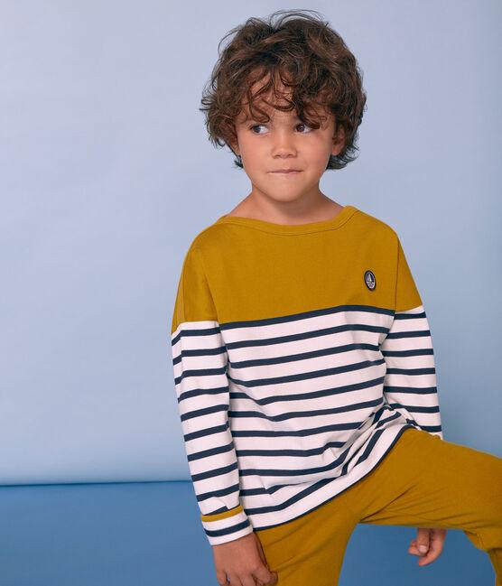 Marinière enfant mixte jaune Bamboo / blanc Marshmallow