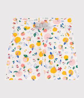 Short en coton enfant fille blanc Marshmallow / blanc Multico