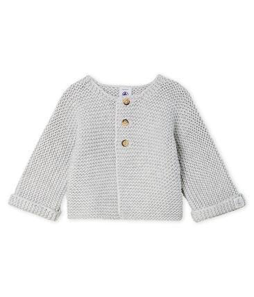 Cardigan laine et coton point mousse bébé fille gris Beluga