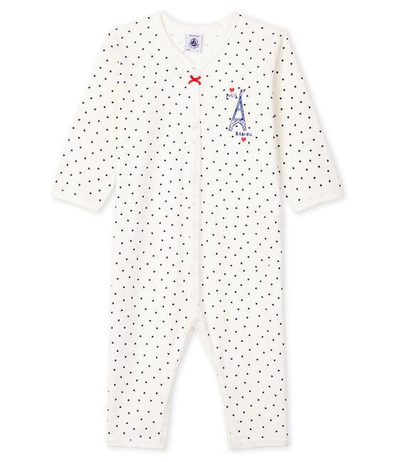 Dors-bien petits cœurs sans pieds bébé en coton blanc Marshmallow / bleu Medieval