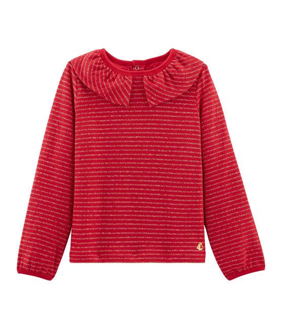 Tee-shirt manches longues enfant fille rouge Terkuit / jaune Or