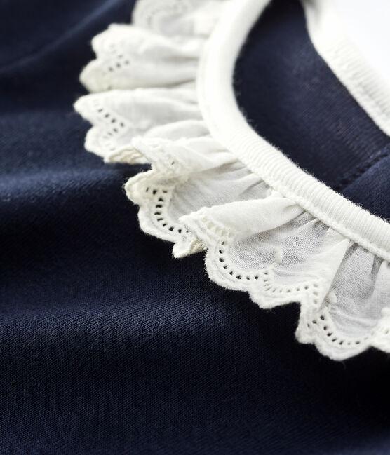Robe manches longues bébé fille blanc Marshmallow / bleu Smoking